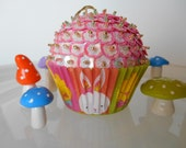 SALE Easter Sequin Beaded Cupcake Ornament