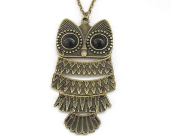 Alloy Metal Owl Charm Pendant Necklace Long Chain 60mm x 30mm  T2945