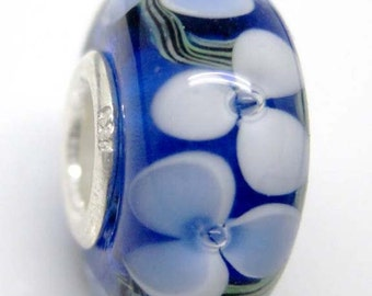 Murano Glass Bead Fit European Jewelry--1Pc--14mm x 7mm  jaz429