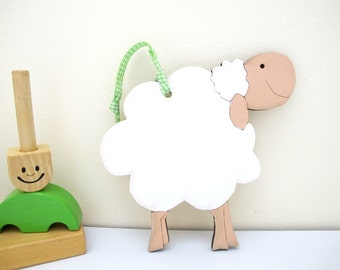 Personalize sheep nursery wall art decoration lamb ornament white lamb newborn gift for nursery and children room decoration