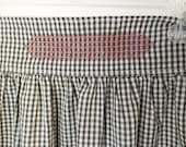 Vintage Handmade Apro, Black & White Gingham Check, Red and White Cross-stitch  Accents, Embroidered Half-apron, Farmhouse Kitchen decor