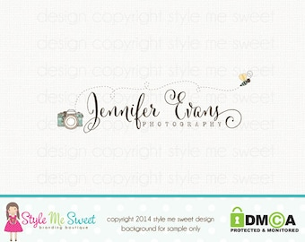 Premade Bee Logo Camera Logo Photography Logo Watermark Logo Small Business Branding Hand Drawn