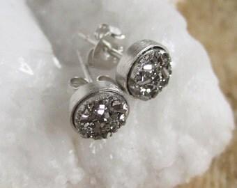 Tiny Silver Druzy Earrings Titanium Drusy Quartz Studs Sterling Silver Bezel Set Rhodium Plated