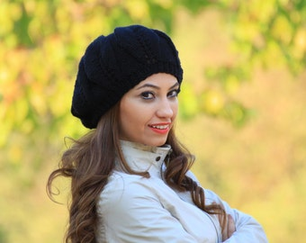 Black Slouch Hat, Black knit hat, Women black hat, Black slouchy beanie, Black Winter hat, Slouchy black hat, Black slouch hat womens