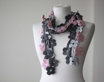 Dark grey, light grey and pink Crochet Lariat Scarf, Flower Lariat Scarf, Crochet Daisy scarf, Necklace scarf, Floral crochet leaf scarf