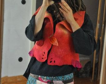 wonderful felted vest,embroidered,handdyed felt nuno felt, -30 %off