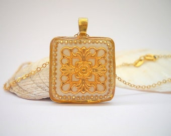 Square White Gold pendant, Necklace with gold filigree flower center inlaid in White polymer, Gold filled necklace,Ethnic pendant