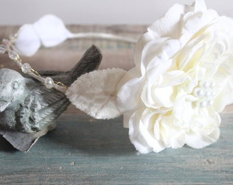 bridal headband ,Wedding Tiara, floral headpice, White whimsical fairy wedding, bridal accessories, wedding hair  - SARAH - by DeLoop