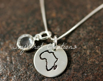 Custom Hand Stamped Sterling Silver Africa Charm Necklace with Africa stamp and birth stone