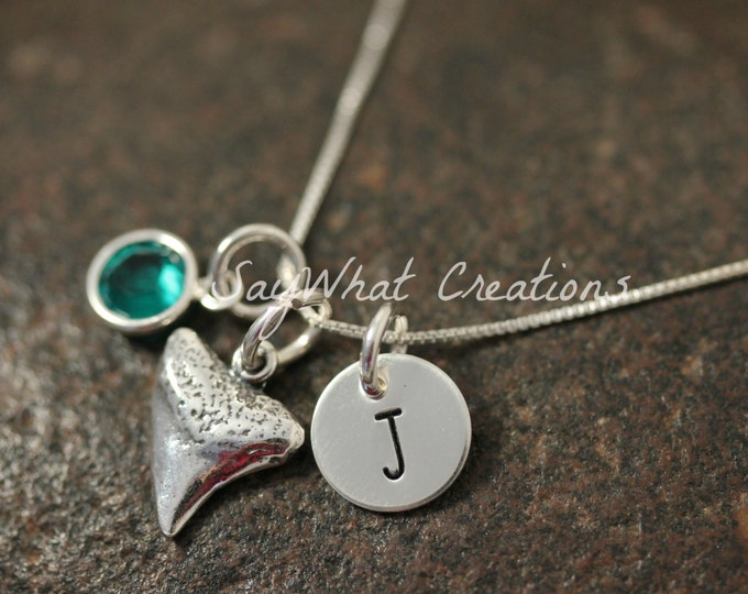Sterling Silver Mini Initial Hand Stamped Shark Tooth Charm Necklace