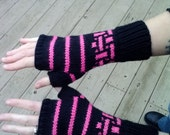 Fingerless gloves, black with pink stripes and mozaic pattern, women and teens size extra small/small