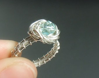 Silver engagement ring, Blue crystal jewelry, Sterling silver jewelry, Rose ring, MADE TO ORDER