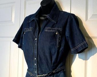 Craftwear Denim Dress 1950s Vintage Blue Jeans Shirtwaist dress Nailheads Studs Snaps Southwest Patio Rockabilly Western New Mexico Cowgirl