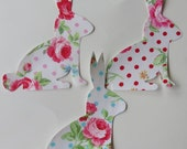 Iron or Sew On Bunny Rabbit Appliques Set of Three Floral Polka Dot Flower Sugar