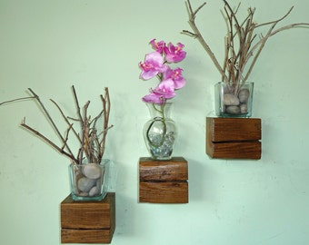 Reclaimed Wood Floating Cube Shelves - Set of 3