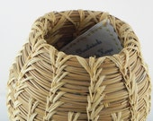 Pine Needle Basket Signed by Artist Woven Hand crafted Art
