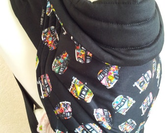 MEI TAI Baby Carrier / Sling / Reversible/ Psychedelic Camper Van with Black in leg cut model/ Cotton / Handmade / Made in UK