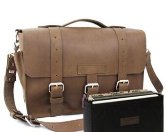 "15"" Brown Belmar Buckhorn Leather Briefcase - Made in America"