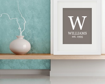 Family Monogram with Est. Date - 8x10 Print, Customizable Colors, Great as Housewarming or Wedding Gift
