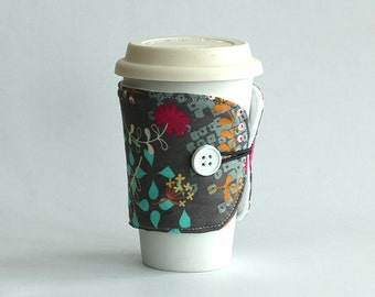 Insulated Coffee Cozy - Grey Floral - Ready to Ship