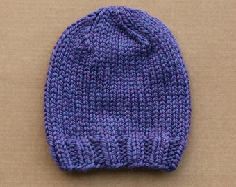 Super Chunky Knit Wool Blend Ladies Beanie Hat - Violet Purple - Made to Order
