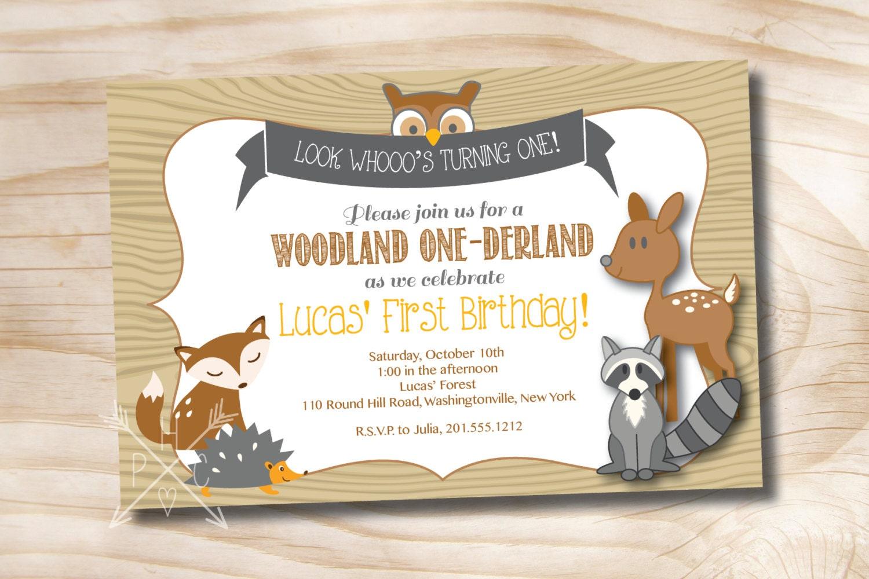 woodland onederland birthday party invitation digital card