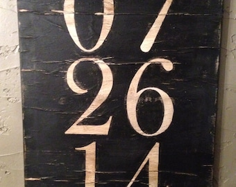 Custom Distressed Date/Number Canvas