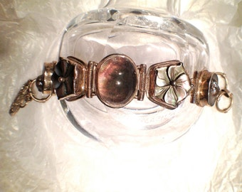 Vintage Sterling Bracelet Boho Fairy Cabochon Silver