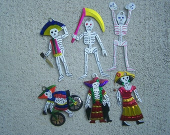 Lot of 6 Different Tin Painted Day of the Dead Skeleton Ornaments - Mexico