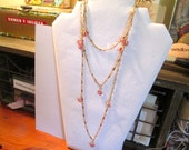 "Stunning SWAROVSKI 50"" Bezel-Set Fuschia PINK Crystal Vintage Flapper Gold Plated Necklace - MINT Condition"