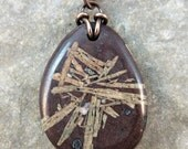 Chinese Writing Basalt Stone Necklace Lake Superior Copper Chain Clasp Handmade by Ginny