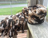Brown Woodland Camo Crocheted Scarf (Matching Hat Available)