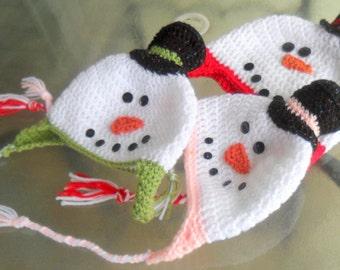 Snowman Beanie, SnowMan Ear Flap Hat, Snowman