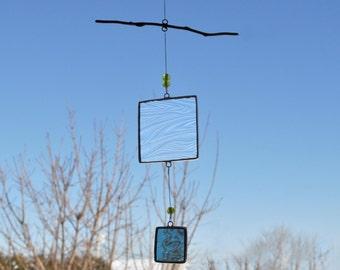 Mobile-Blue mobile-Glass mobile-Blue Suncatcher-Glass suncatcher-Children mobile-Baby mobile-Hostess gift-Teacher gift-En Bleu et Verre