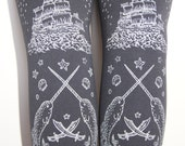 XXL Pirate Printed Tights Big Plus Size Extra Large Silver on Slate Grey Gray Women Tattoo