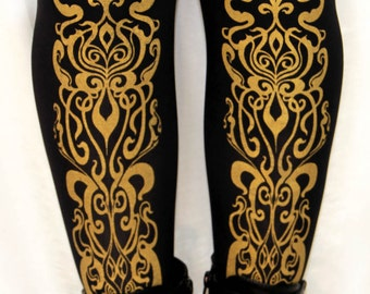XL Art Nouveau Printed Tights Black Gold Extra Large Plus Size Womens Fashion Print Pattern Winter Dolly Kei Lolita Steampunk