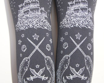 XL Pirate Printed Tights Plus Size Extra Large Silver on Slate Grey Gray Women Tattoo Nautical
