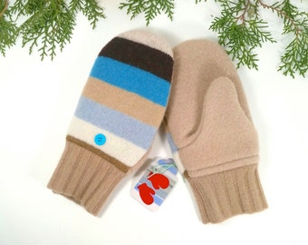 Warm, Wool Mittens for Older Kids. Fleece lining. Stripes with beige, turquoise, light blue, brown.