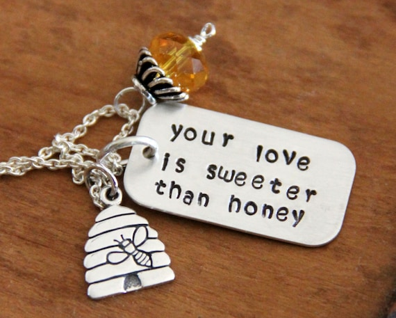 honey Necklace, Sterling Honeybee Pendant, honey, Your Love Is Sweeter than honey,  Amber Necklace Bee, Bumble bee Necklace,  Yellow,