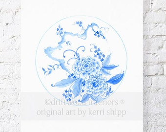 Chinoiserie Plate in Ming Blue 8x10 Print- Chinoiserie Art Print - Blue and White China Print