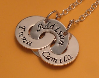 Mother's Day gift.  Personalized Jewelry.  Hand Engraved.  Personalized Hand Stamped Necklace -