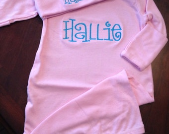 Light pink monogrammed newborn gown and hat