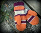 Hand knit and felted striped wool mittens in orange, white and maroon red - size small - ready to ship