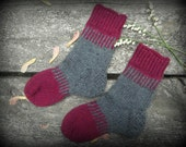 Hand knit socks from gray and maroon warm wool in striped pattern - crew length