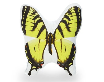 Yellow Swallowtail Printed Pillow - Yellow Swallowtail Butterfly - Butterfly Print Pillow - Butterfly Art Print - Butterfly Home Decor