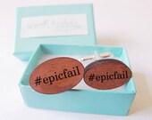 Engraved Hashtag Epic Fail Cufflinks