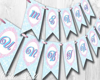 Alice in Wonderland Party, Mad Hatter Tea Party - PRINTABLE BIRTHDAY BANNER  - Cutie Putti Paperie  - Cutie Putti Paperie