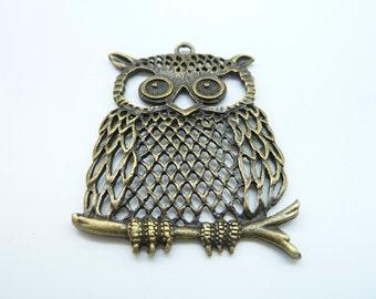 4pcs 40x60mm Antique Bronze Owl  Charm Pendant c3121