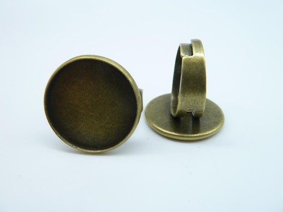 10pcs 20mm Antique Bronze Brass Round Cameo Cabochon Base Setting Rings  c2637