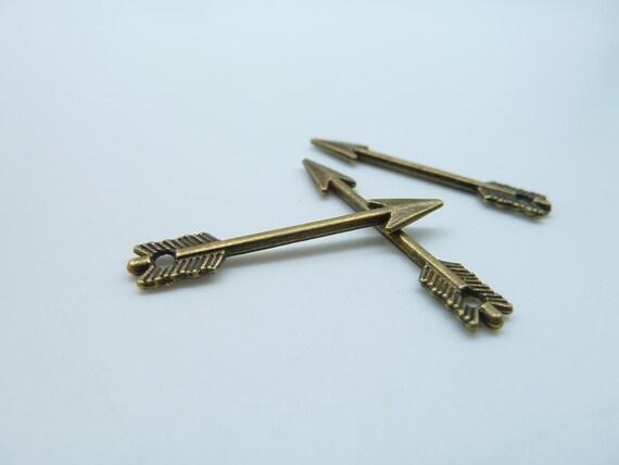 50pcs 5x30mm Antique Bronze Mini Double Sided Arrow  Charm Pendant (With Hole) C3081